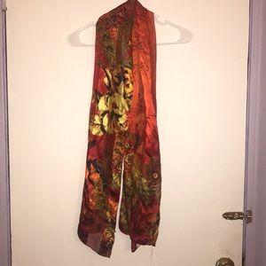 Cynthia Rowley Floral Print 100% Silk Scarf